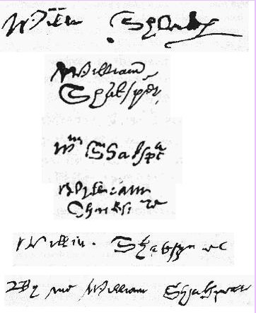 6-known-signatures-of-shakspeare